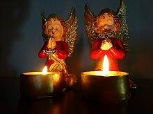Weihnachtsdeko Figur Kerzenständer Engel Figure Dekofigur Weihnachten Engel Figuren beleuchtet mit Teelicht - 2er Set handgefertigte handbemalte Teelichthalter Engel Teelicht Ständer mit Glitter - an den Flügeln - liebevoll detailliert hergestellt - sehr detailliert - mit glitzernden Flügeln - tolle Kerzen Halter in toller Optik,.perfekt als Weihnachtsdeko, Tischdekoration und vieles mehr - 2er Set Kerzenständer Teelichtständer Engel Weihnachten Glitzer beleuchte