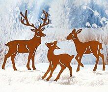Weihnachtsdeko - Gartenstecker Hirschfamilie 3er Set - Rehe - Metall - Ros