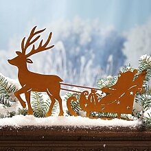 Weihnachtsdeko - Gartenstecker Weihnachtsmann mit Schlitten - Metall - Ros