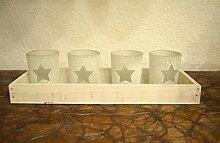 Weihnachtsdeko Kerzentablett mit Teelichtgläser 5tlg. weiß 30cm Teelicht Adventskranz Tischdeko xmas Weihnachten Winterdeko Stern Deko
