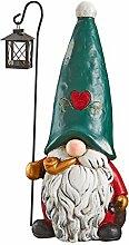 Weihnachtsdeko - Moe der Nordpol Gartengnome mit Weihnachtslaterne Feiertags-Dekor-Statue