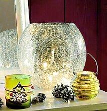 Weihnachtsdeko Schale Bruchglas mit Lichterkette