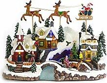 Weihnachtsdeko - Spieluhr Weihnachtsmann mit Schlitten - LED Beleuchtung - Bun
