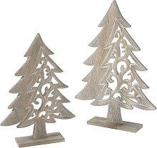 Weihnachtsdeko Tannenbaum aus Holz (2-tlg. Set),