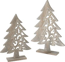 Weihnachtsdeko Tannenbaum Aus Holz (2 Tlg. Set),