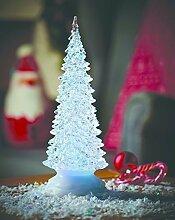 Weihnachtsdeko Tannenbaum beleuchtet Farbwechsel ( 10 cm Durchmesser, 27 cm hoch) XL beleuchteter Weihnachtsbaum mit LED Beleuchtung - wunderschön beleuchteter beleuchteter Baum Christbaum mit Farbwechsel LED - mit Wasser und glitter gefüllt, - tolle stimmungsvolle Weihnachtsbeleuchtung mit wunderschönen Lichteffekten