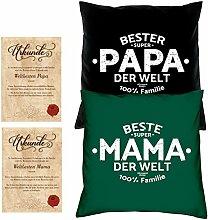Weihnachtsgeschenk Eltern im Set -:- Mama Papa -:- 2 Kissen dunkelgrün & schwarz -:- 2 Urkunden