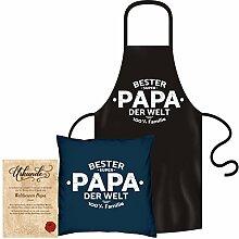 Weihnachtsgeschenk für Papa -:- 1 Kissen inklusiv Füllung -:- 1 Schürze -:- 1 Urkunde Geschenk Weihnachten schwarz & navy-blau