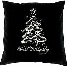 Weihnachtsgeschenk für Sie und Ihn Männer und Frauen :-: Frohe Weihnachten :-: Geschenkidee Sofakissen Kissen mit Füllung Farbe: schwarz