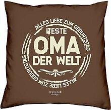 Weihnachtsgeschenk Großmutter Deko Sofa Kissen mit Füllung Beste Oma der Welt :-: Farbe: braun