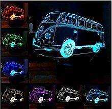 Weihnachtsgeschenk LED 3D Bus Nachtlicht RGB 7