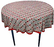 Weihnachtsgeschenke Mehrfarbig Blumen Runde Tischdecken in Baumwolle Stoff indische Tisch Dekoration Ideal für 4-6 Maßgedecke (175 Cm Durchmesser ca.)