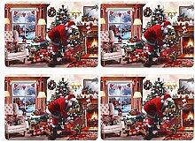 Weihnachtsgeschirr, 4 Stück, Platzsets mit