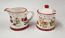 Weihnachtsgeschirr aus Keramik mit