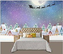 Weihnachtshäuschen unter Schnee-Nacht Wandsticker