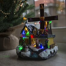 Weihnachtshaus Windmühle LED mehrfarbig