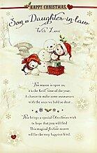 Weihnachtskarte, Motiv Bären, Geschenke & Pudding, für Sohn und Schwiegertochter, 22,9x 15,2cm, englischsprachige Aufschrif
