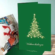 Weihnachtskarten Design, Lichtflut mit Foto 70 Karten, Vertikale Klappkarte 105x148 inkl. weiße Umschläge, Grün