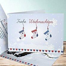 Weihnachtskarten Design, Weihnachtssocke mit Foto 200 Karten, Horizontale Klappkarte 148x105 inkl. weiße Umschläge, Grau