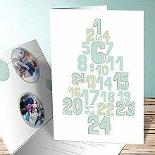 Weihnachtskarten Design, Zahlenbaum mit Foto 50 Karten, Vertikale Klappkarte 105x148 inkl. weiße Umschläge, Blau