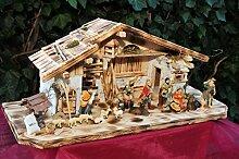 Weihnachtskrippe, mit Brunnen + Dekor, Massivholz