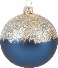 Weihnachtskugel aus Glas, blau mit Glitzer