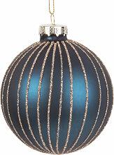 Weihnachtskugel aus Glas, blau mit goldenen