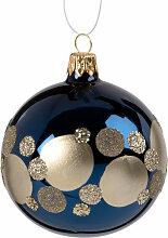Weihnachtskugel aus Glas, blau mit goldfarbenen