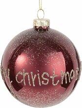 Weihnachtskugel aus Glas, himbeerfarben mit