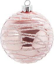 Weihnachtskugel aus Glas, rosa mit silberfarbenen