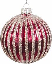 Weihnachtskugel aus Glas, rot mit silberfarbenem