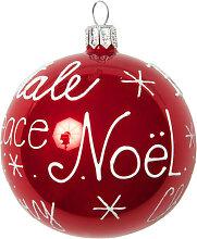 Weihnachtskugel aus Glas, rot mit weiß Druckmotiv