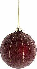 Weihnachtskugel ELISE - 12 Stück - Rot / Gold -