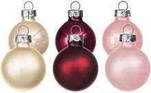 Weihnachtskugeln aus Glas, creme, marsala, pink, 3