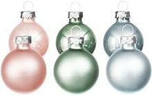 Weihnachtskugeln aus Glas, eucalyptus, hellrosa,