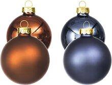 Weihnachtskugeln aus Glas, rost, blau, 6 cm Ø, 12