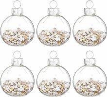 Weihnachtskugeln aus Glas und Sternenkonfetti (x6)