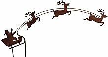 Weihnachtsmann auf Schlitten Rost Gartendeko