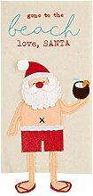 Weihnachtsmann-Handtuch mit baumelnden Beinen