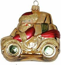 Weihnachtsmann im Auto, 9cm, gold/ro
