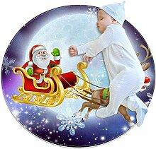 Weihnachtsmann im Schlitten, runder Teppich für