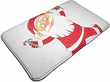 Weihnachtsmann mit Candy Print Türmatte Badematte