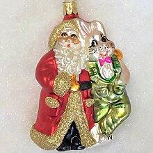 Weihnachtsmann mit Hase 15 cm aus Glas, Figur für