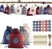 Weihnachtsmuster Candy Bag 1-24 Adventskalender