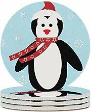 Weihnachtspinguin Untersetzer 6er Set, leicht zu