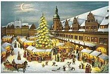 Weihnachtspostkarte Leipzig Weihnachtsmark