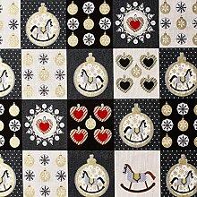 Weihnachtsstoff Schaukelpferd (grau/schwarz) -