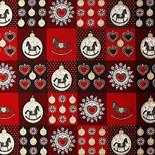 Weihnachtsstoff Schaukelpferd (rot/braun) -