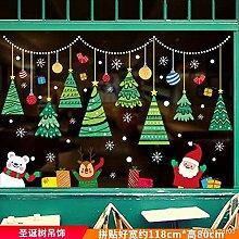 Weihnachtsszene Glasaufkleber Weihnachtsbaum