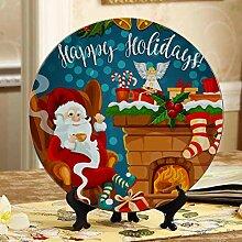 Weihnachtsszene Kamin Fun Platten Keramik Lustige